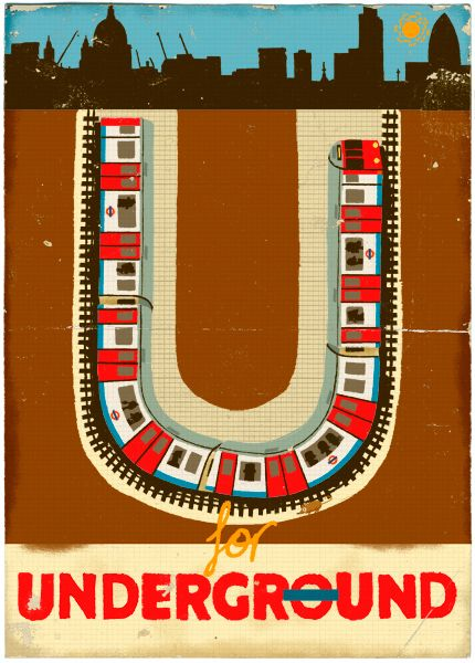 u for underground by paul thurlby we love this retro. Black Bedroom Furniture Sets. Home Design Ideas