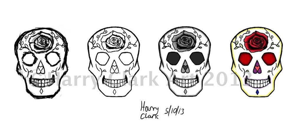 Simple Sugar Skull Outline Sugar Skull Tattoo Design By Sugar