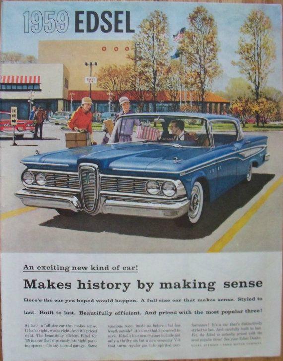 1959 Edsel Ad Women Shopping Original Magazine