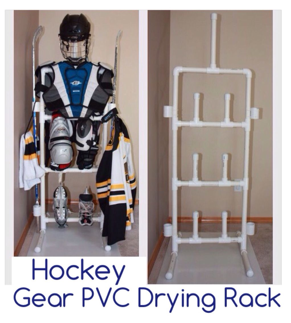 Pvc Hockey Gear Drying Rack I Can T Find Instructions Only Pictures But This Would Work For My Son S Gear I Supp Hockey Gear Hockey Bedroom Hockey Equipment