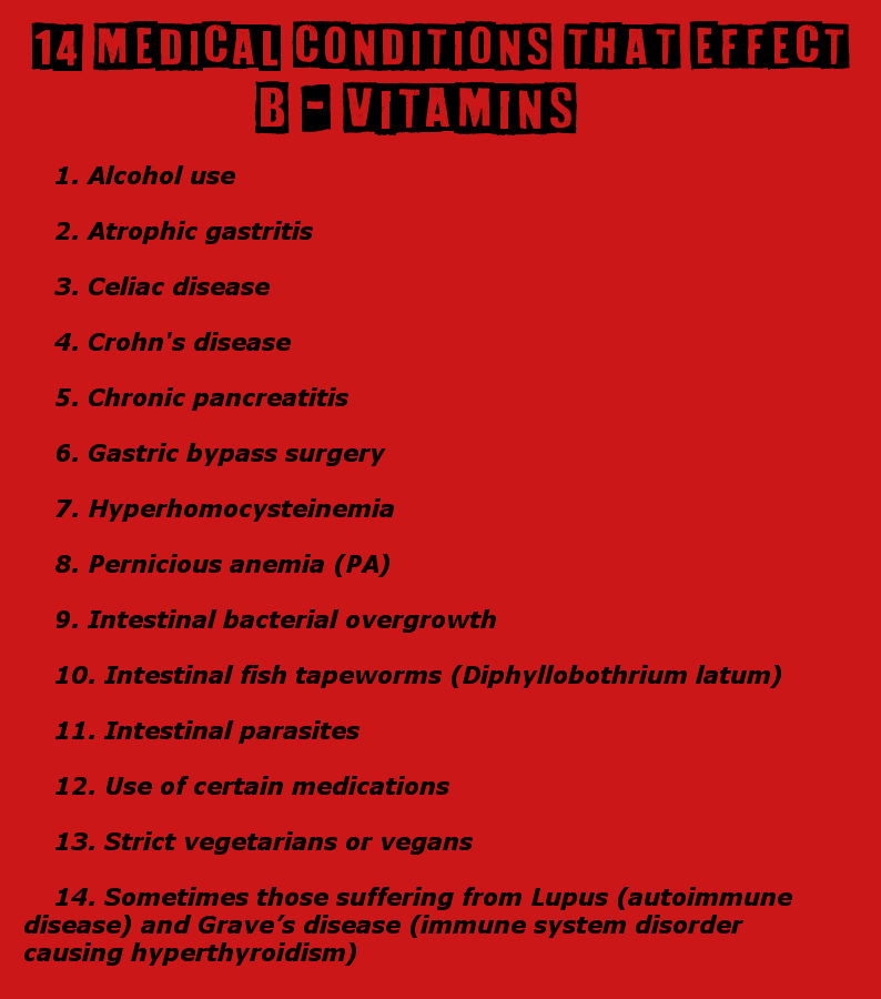 Top 14 Medical Illnesses That Must Have Vitamin B12