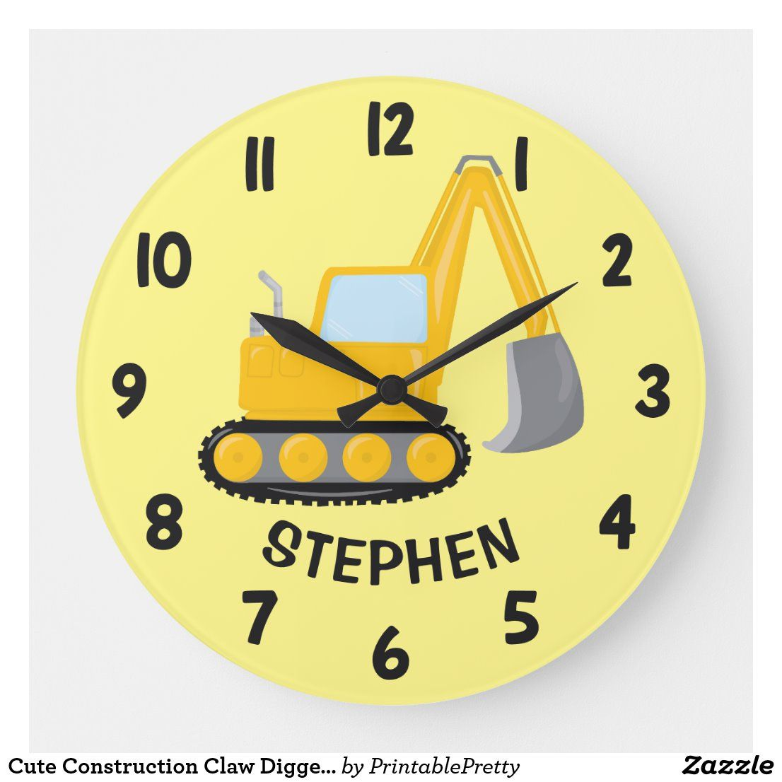 Cute Construction Claw Digger Boys Bedroom Wall Large Clock Zazzle Com In 2020 Large Clock Clock Boy S Bedroom