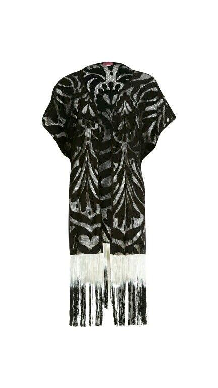 4470377de84 Black swirl gradient tassel kimono-River Island