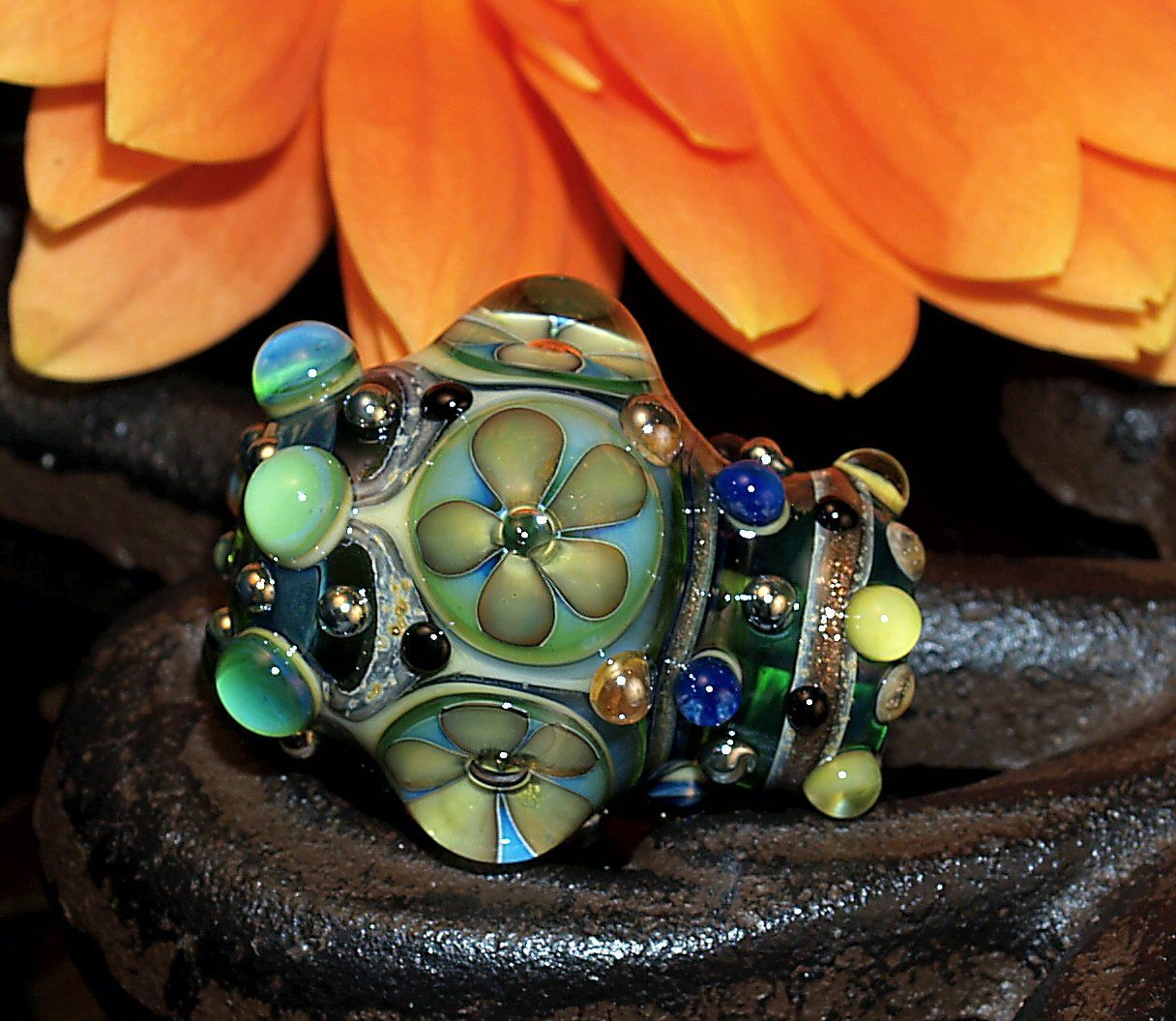 flowerbead with goldstone, handmade glass bead SRA, OOAK