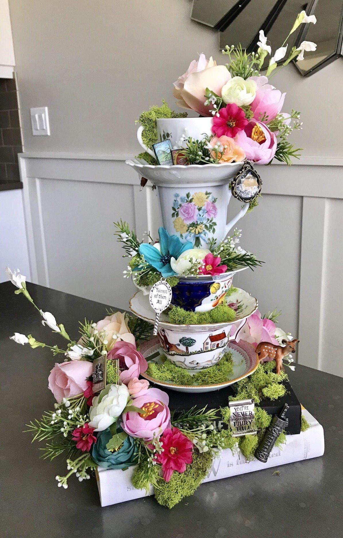 Alice In Wonderland Fairytale On Books Boho Tea Party Centerpiece Baby Wedding Decor Shower Home Garden Centerpieces