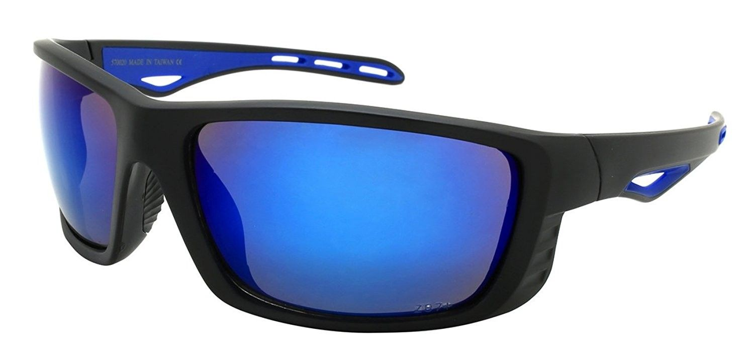 456e240eda35 Full Frame Sports Wrap w Z87+ Sunglasses 570020 REV - Matte Black+blue -  CB185U2HRND - Women s Sunglasses