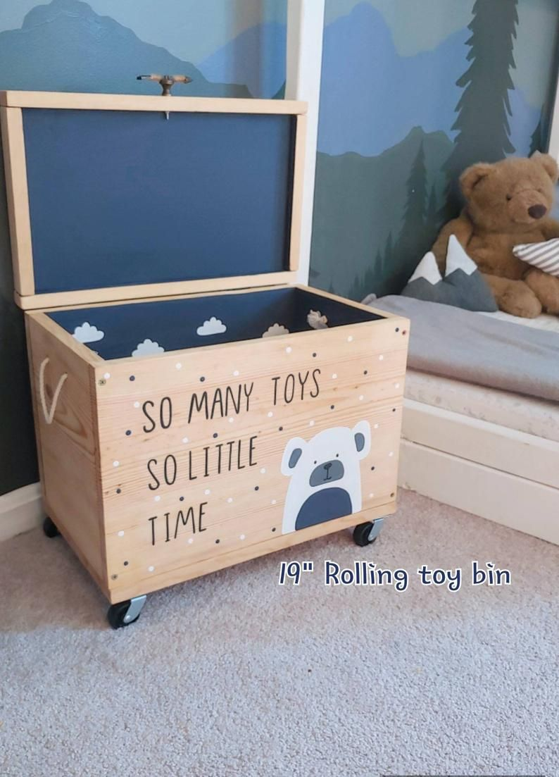 Toy Box Rolling Toy Box Bin Upholstered Lid Wood Toy Etsy In 2020 Wood Toy Box Kids Toy Chest Boys Toy Box