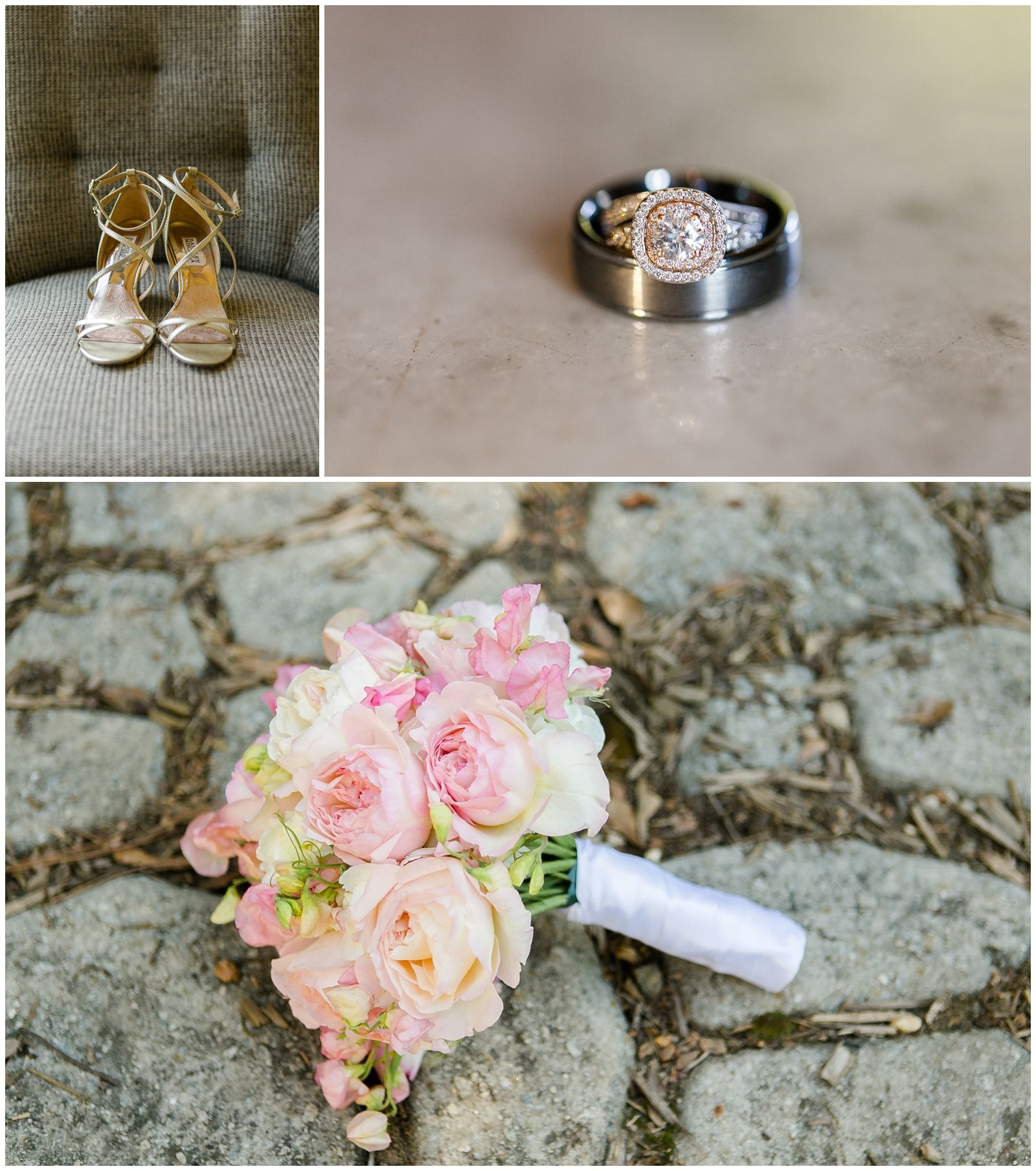 Pretty pink bouquet Diamand and rose gold halo ring Badgley