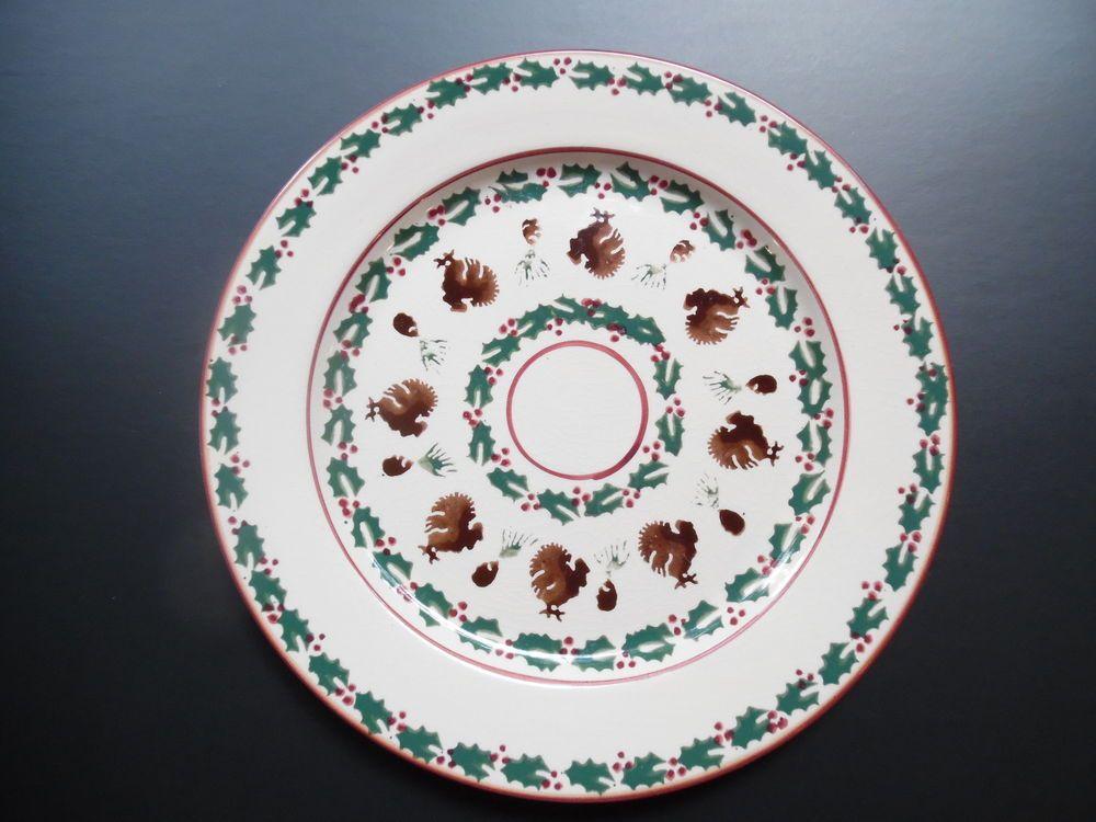 Nicholas Mosse Irish Pottery Large Christmas Turkey Holly Pinecone 11 Plate Irish Pottery Nicholas Mosse Pottery Pottery