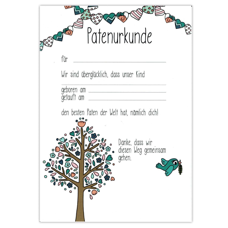 Patenbrief Taufbrief Geschenk Taufe f/ür Patenkind von Taufpatin personalisierbar Taufgeschenk