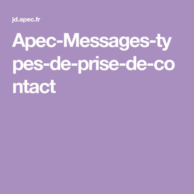 Apec Messages Types De Prise De Contact Job Points De