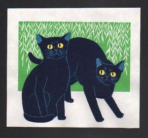 Tadashige Nishida Japanese Woodblock Print Blue Cats Friends | eBay