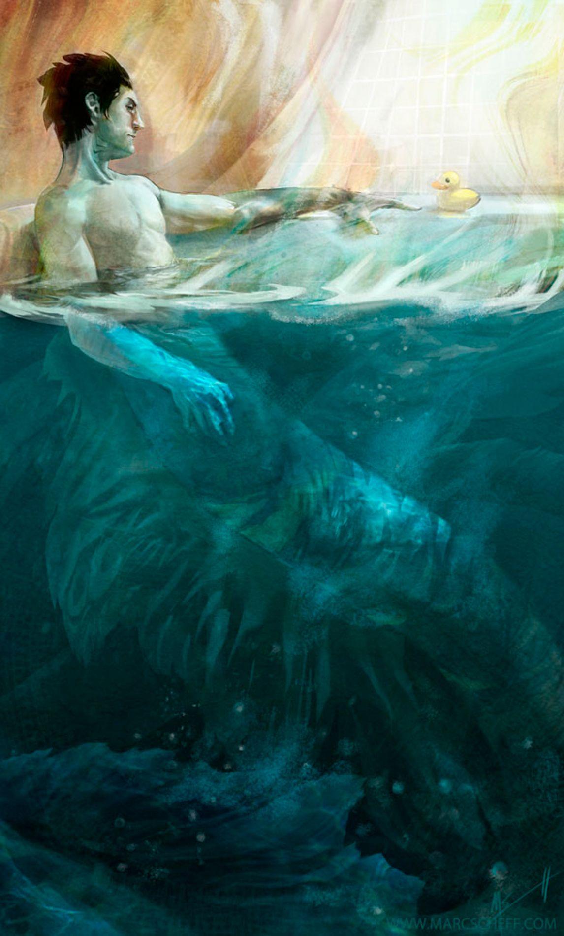 Hidden Depths Merman And Rubber Duckie Marc Scheff Beneath Waves