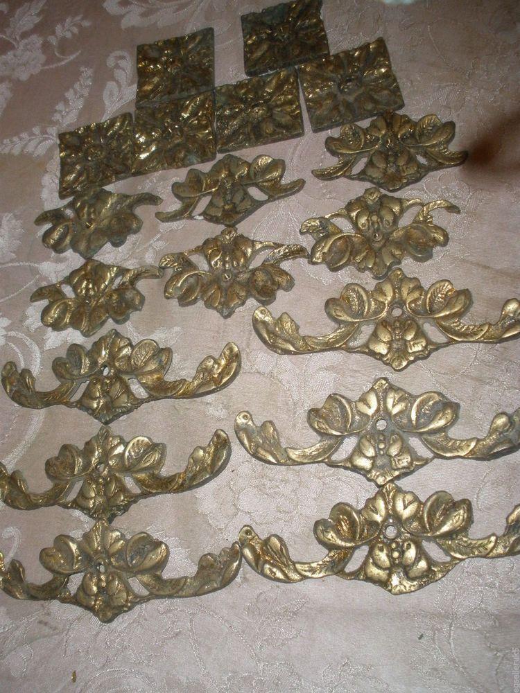 Vintage and antique set of 18 cast brass ornate for chandelier parts - Vintage And Antique Set Of 18 Cast Brass Ornate For Chandelier Parts