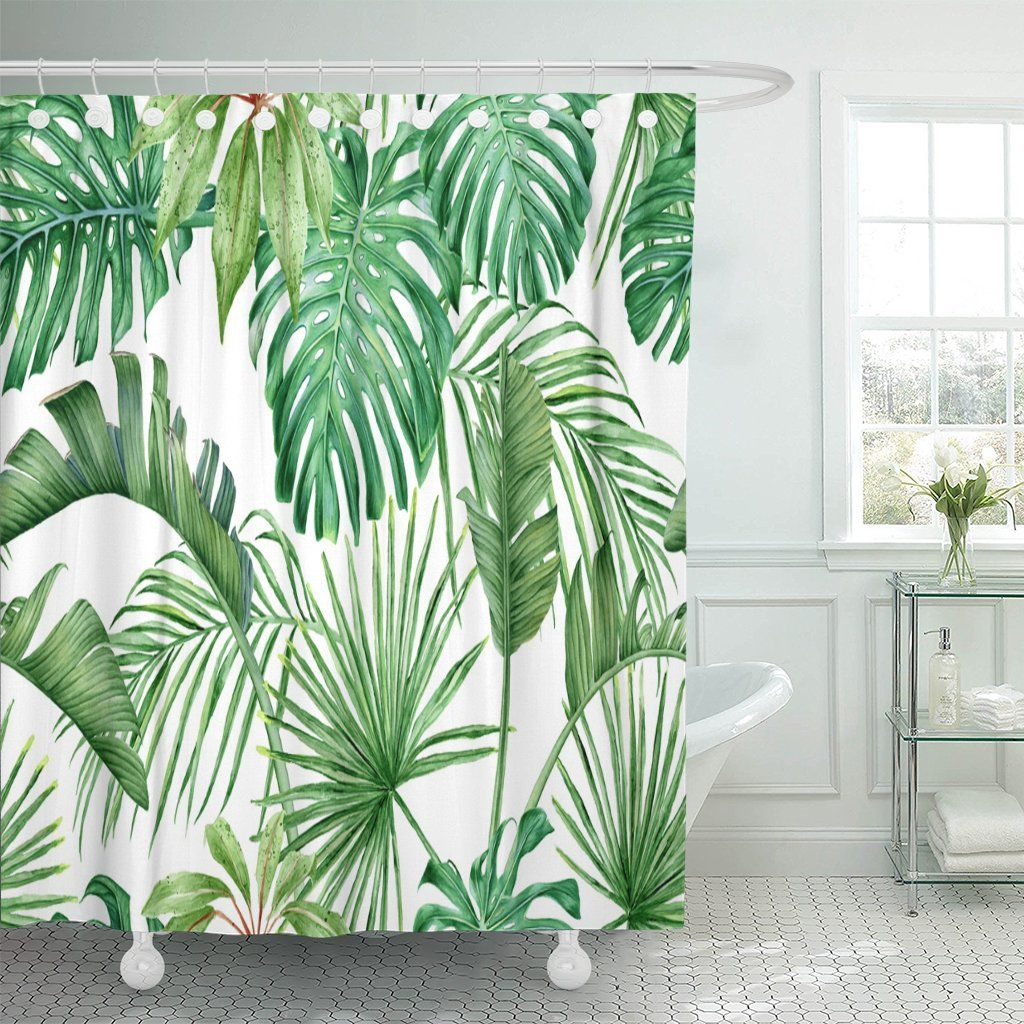 Home In 2020 Tropical Shower Curtains Green Kitchen Curtains Curtains