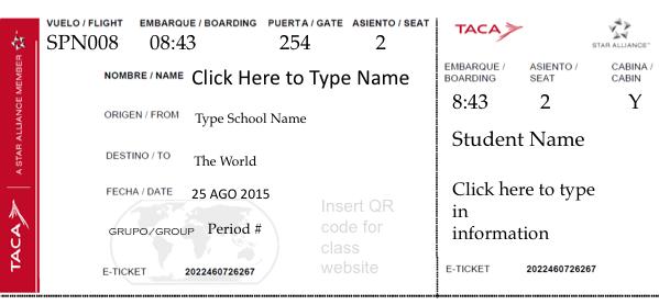 Student Boarding Pass Template | culture w kids | Pinterest