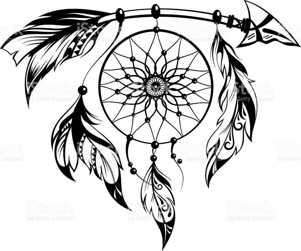 Decorative illustration with dream catcher dream catcher tattoo pinterest tatouage dessin - Coloriage sympa ...