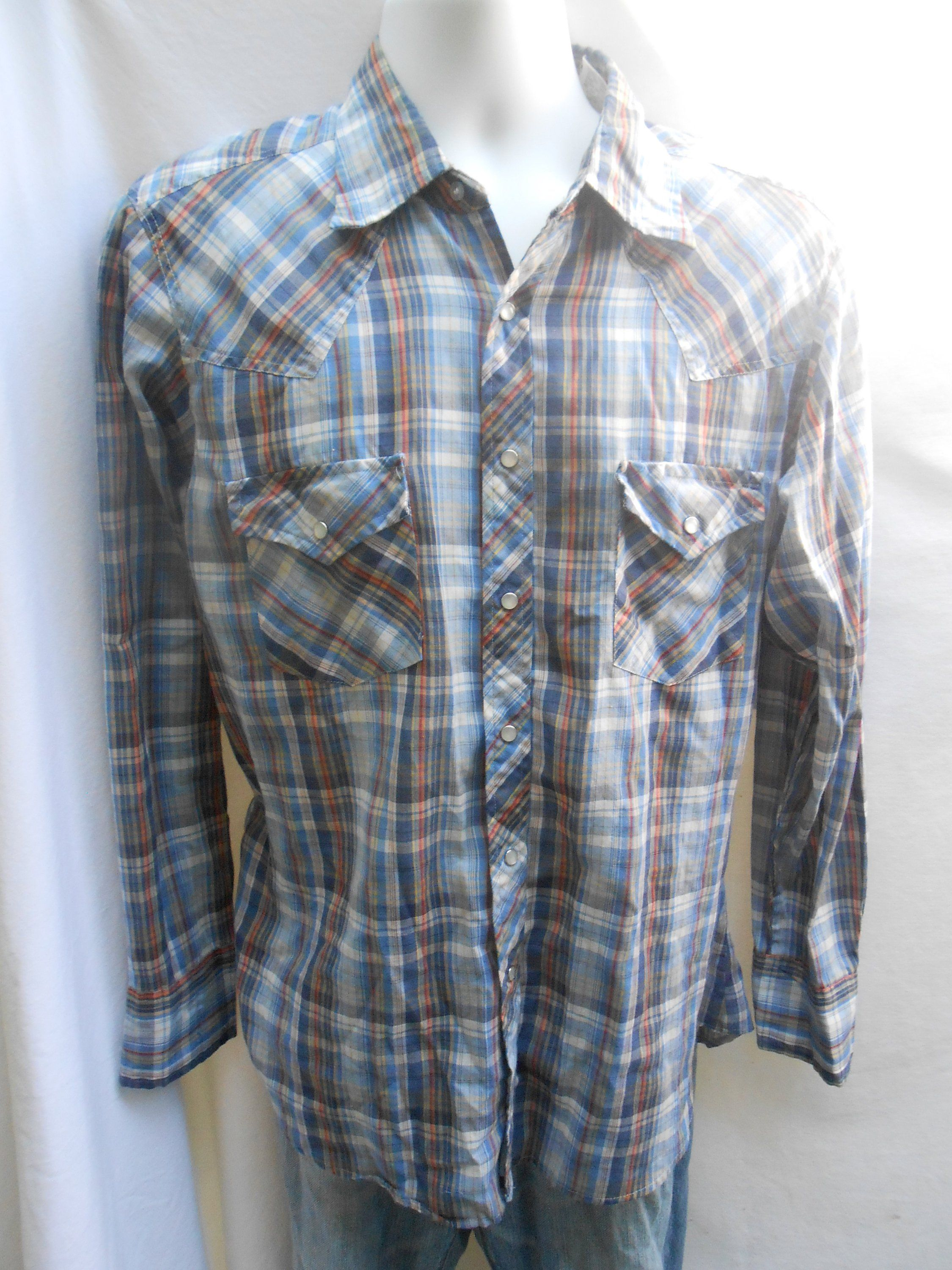 0a8eb445 Vintage 1970's Sears Western Wear Mens Plaid Button Down Long Sleeve Shirt  by SixFifteenVintage on Etsy
