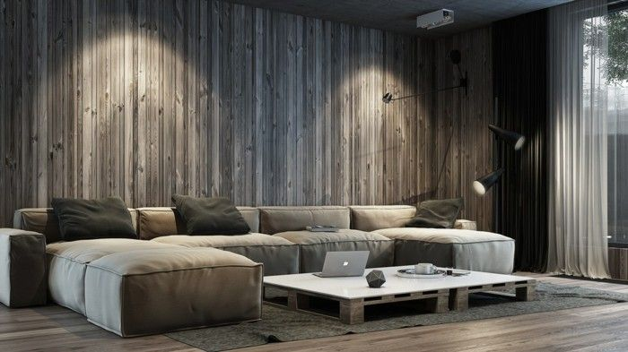 Wanddeko Ideen Wohnzimmer Wandpeneele Holztextur