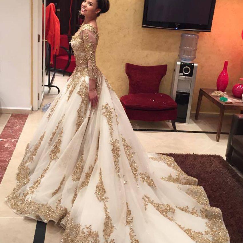 Cinderella Zwei Stücke Brautkleid Arabisch Gold Spitze Perlen Luxus ...