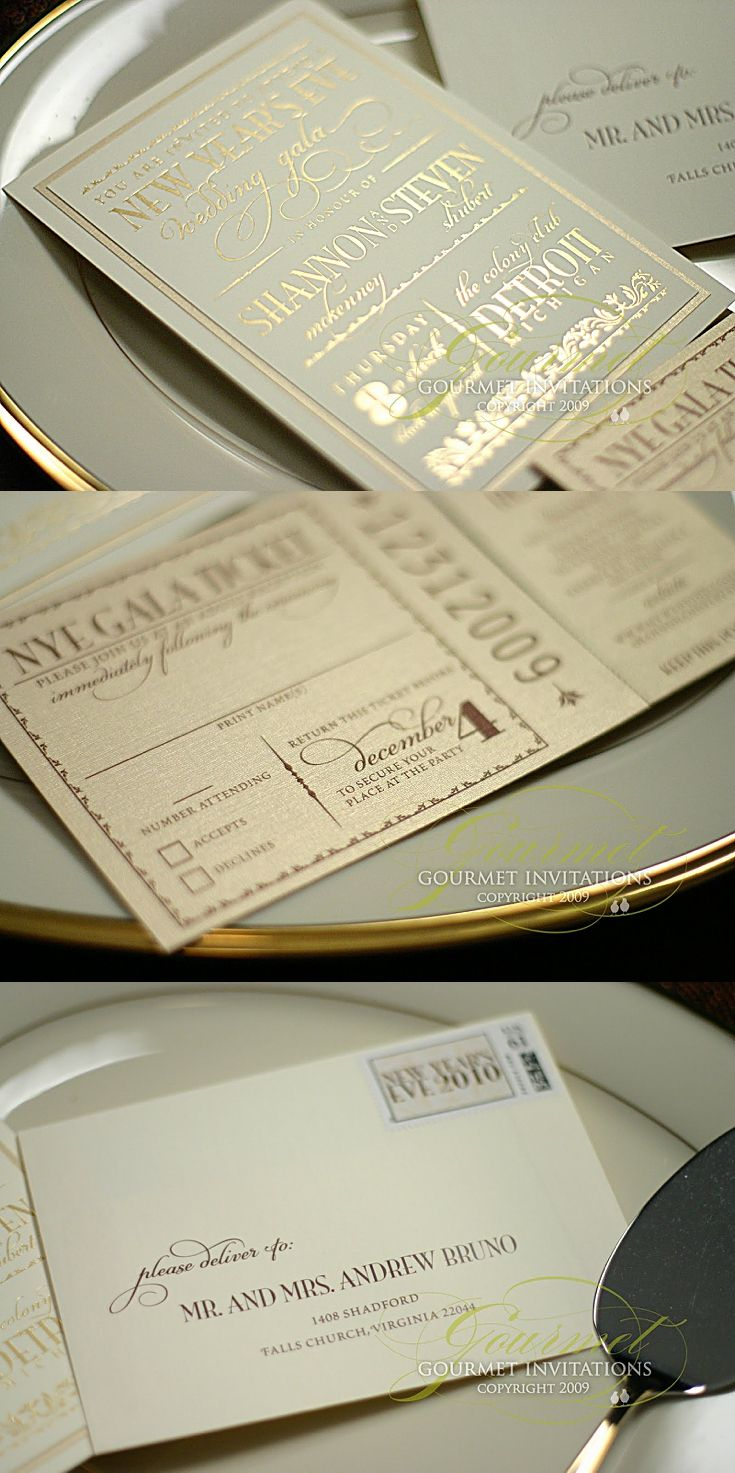 our gala new years eve wedding invitations were designed to look like a royal invitation with ticket response cards the response cards had a tear off stub