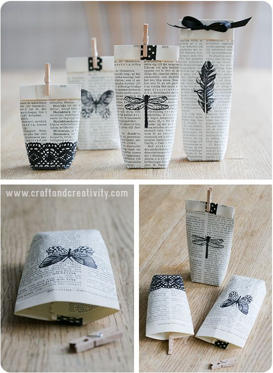 I Think These Bags And This Idea Is So Cute Would Love To Receive The Bag Let Alone A Gift Inside Gammal Bok Blir Presentpåsar Turn Old Book Into