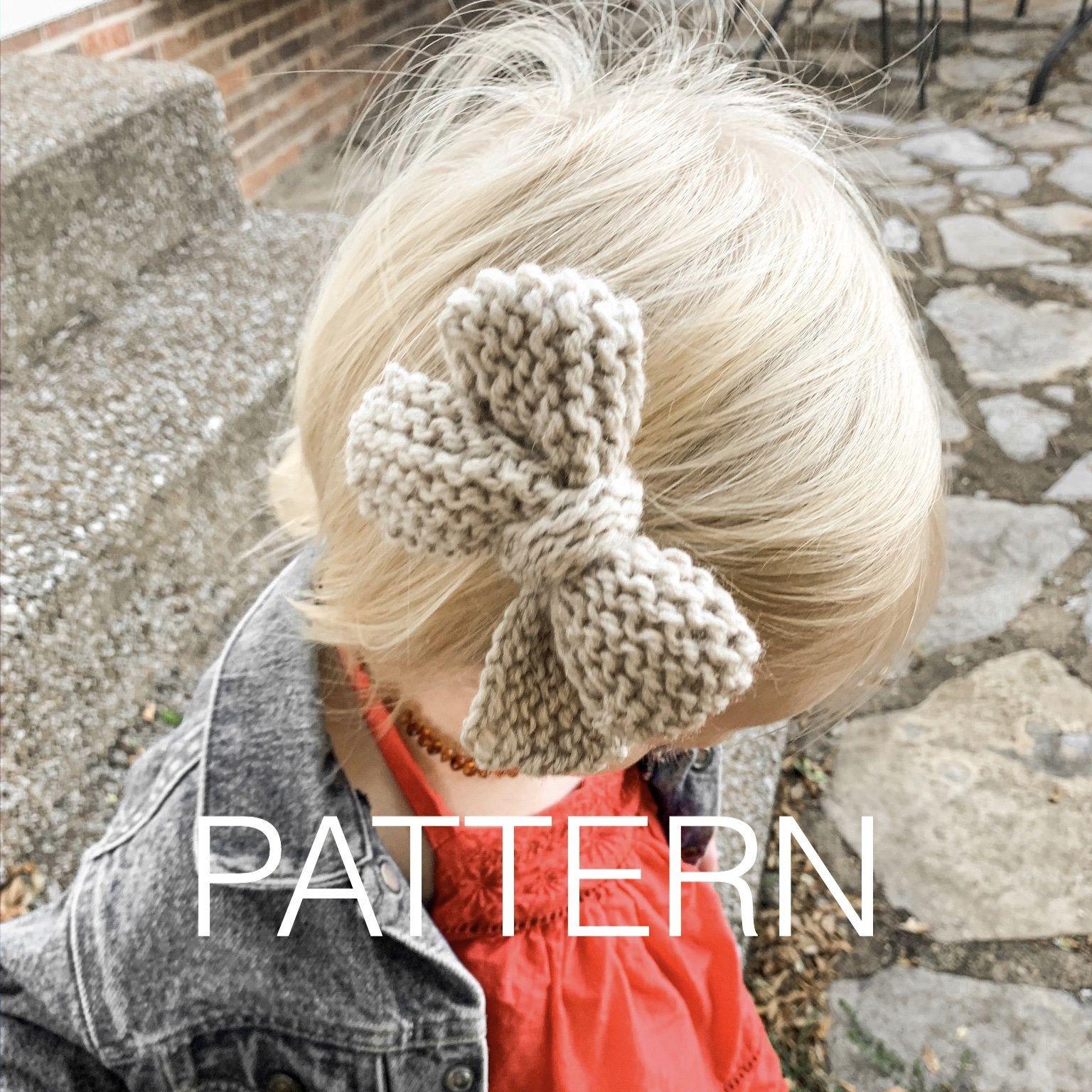 Chunky Hair Bow Pattern Knit Hair Bow Pattern Knit