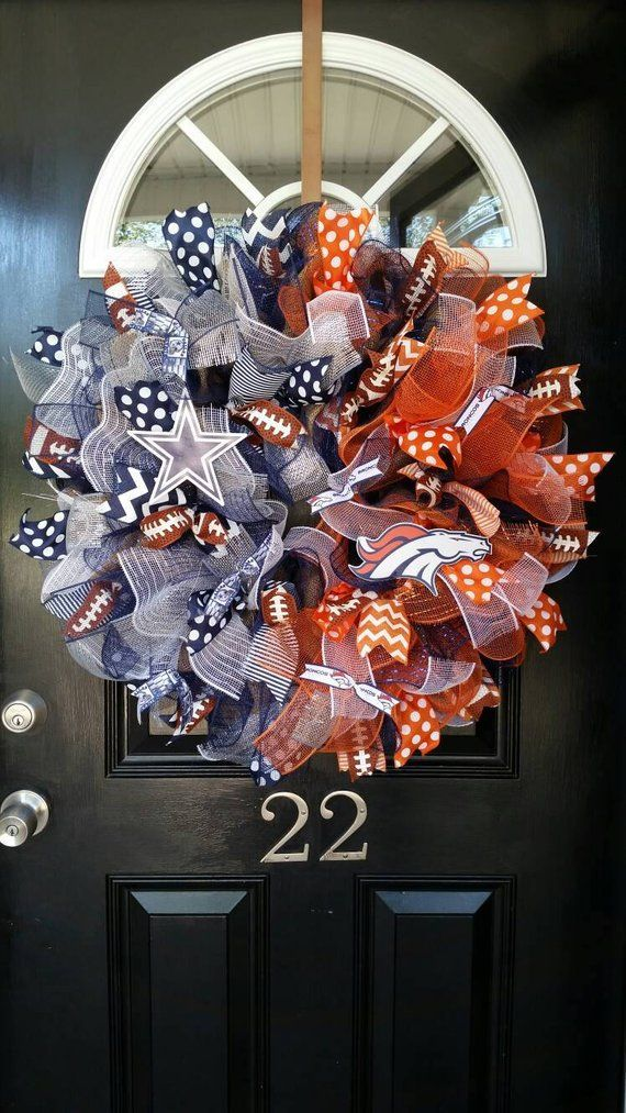 Large House Divided Burlap Wreath Dallas Cowboys Denver Broncos