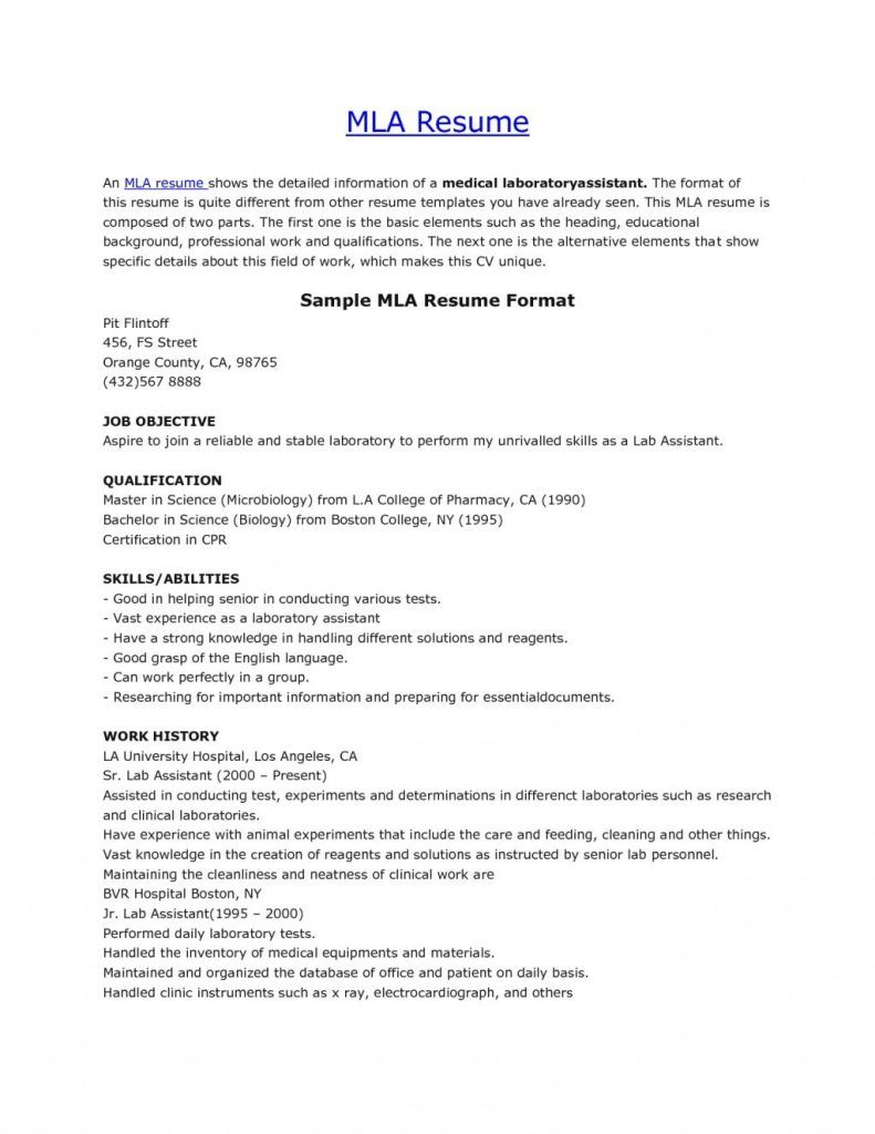 sample mla resume