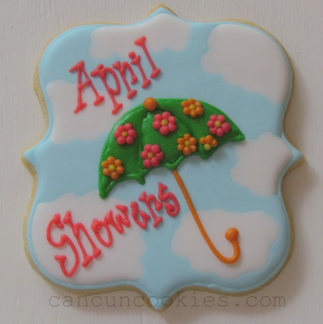 Cancun Cookies - Tutorial for April showers plaque sugar cookies.