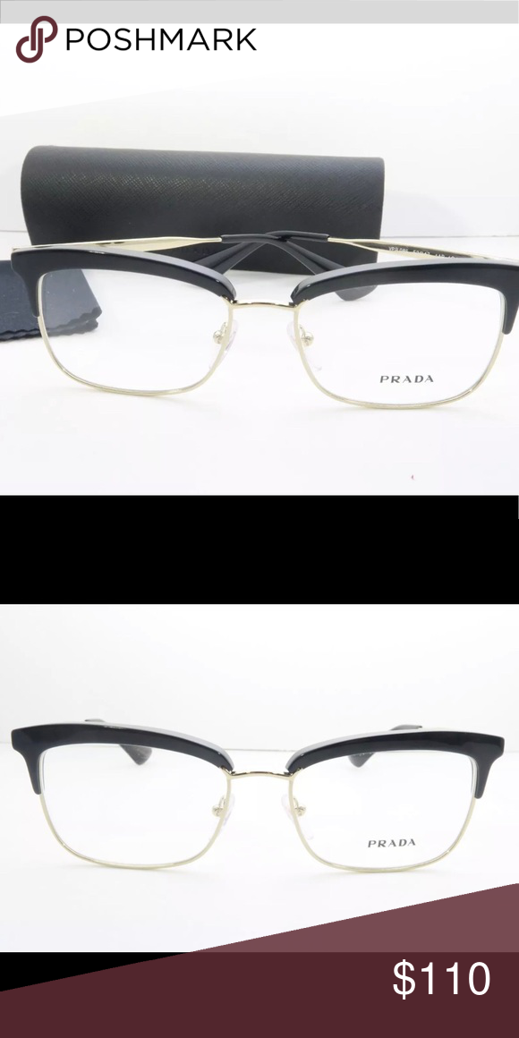 787b5c9e8e5b Prada VPR 08S black gold eyeglasses 53-17-140 New with case Authentic -  just didn t get prescription in Prada Accessories Glasses