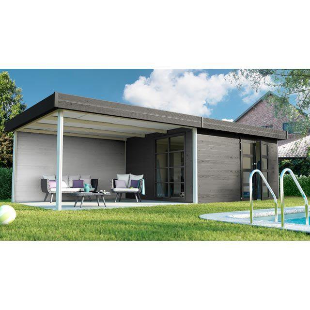 Abri de jardin bois + pergola Blooma Lindo XL, 14,3 + 15 m² ...