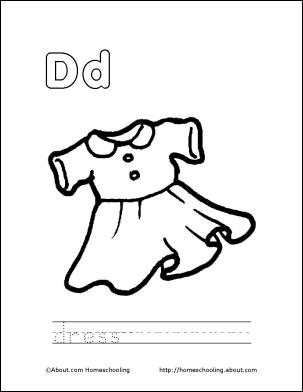 D For Dress Trace Coloring Books Letter D Lettering