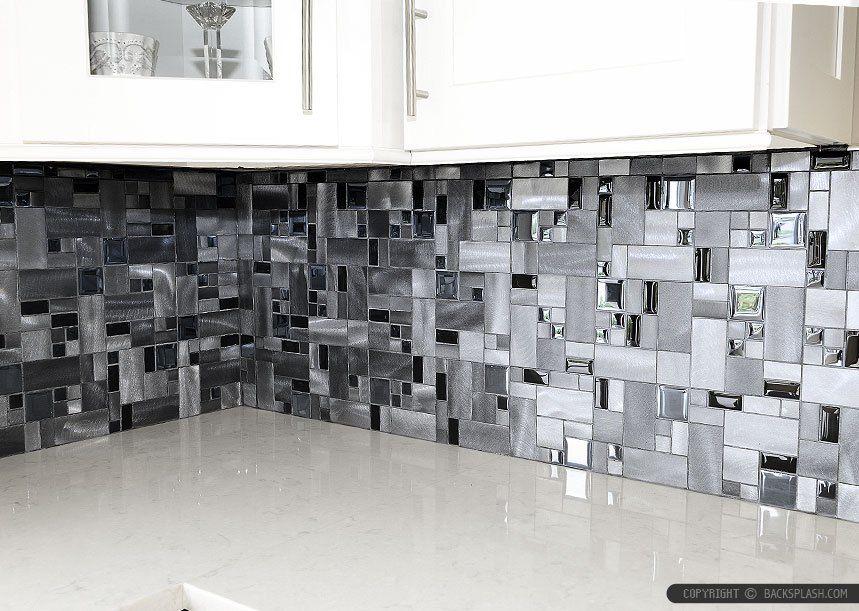 Modern Mosaic Kitchen Tile Backsplash Feat Wooden Kitchen Cabinet Delectable Modern Mosaic Tile Backsplash