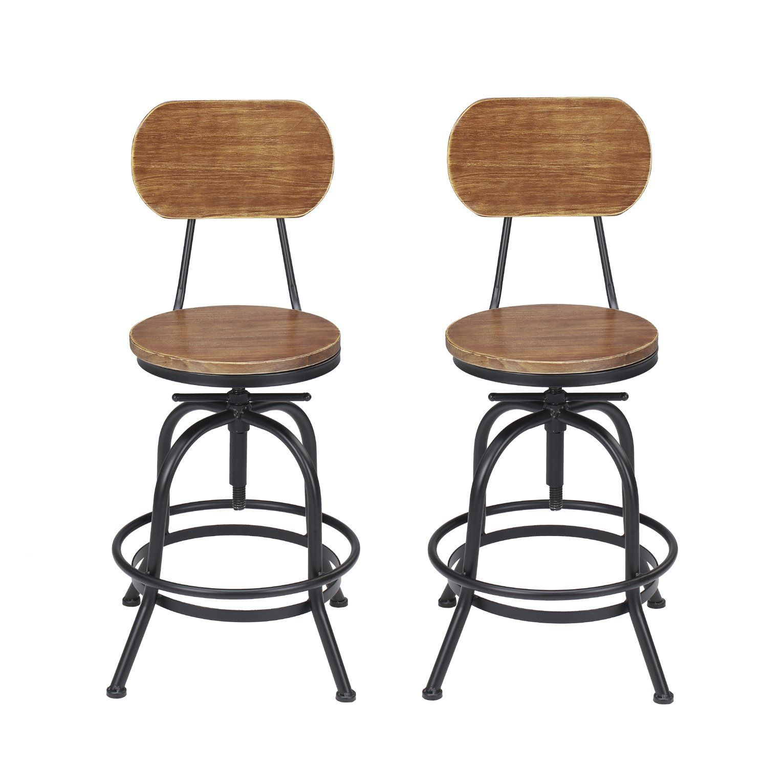 68accb901d215 Vilavita Adjustable Height Wooden Bar Stools with Backrest