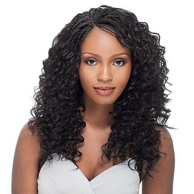 Micro braids hairstyles with long curly hair for black women ...