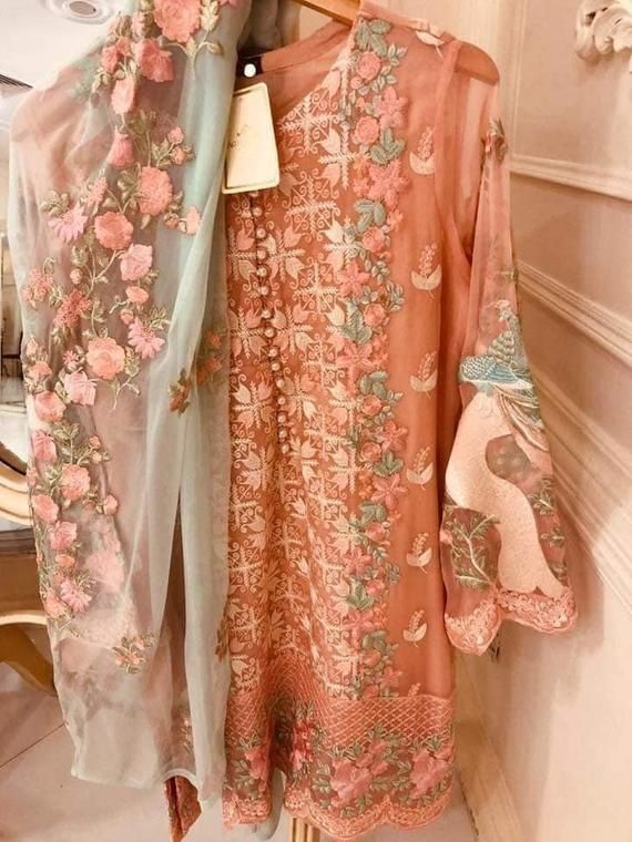 2e477bec5e Peach Pure Chiffon Embroidered 3 Piece suit, Agha Noor Kurti, Pakistani  Dress, Indian Dress
