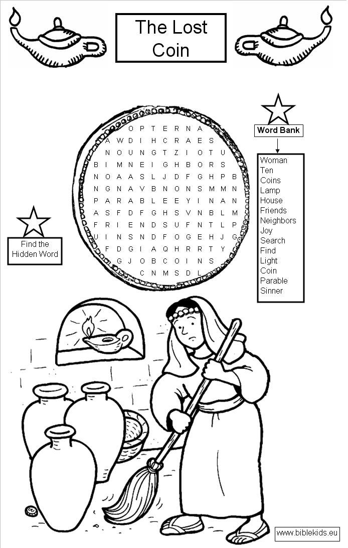Luke 15 Lost Coin Word Search Puzzle Sunday School Coloring