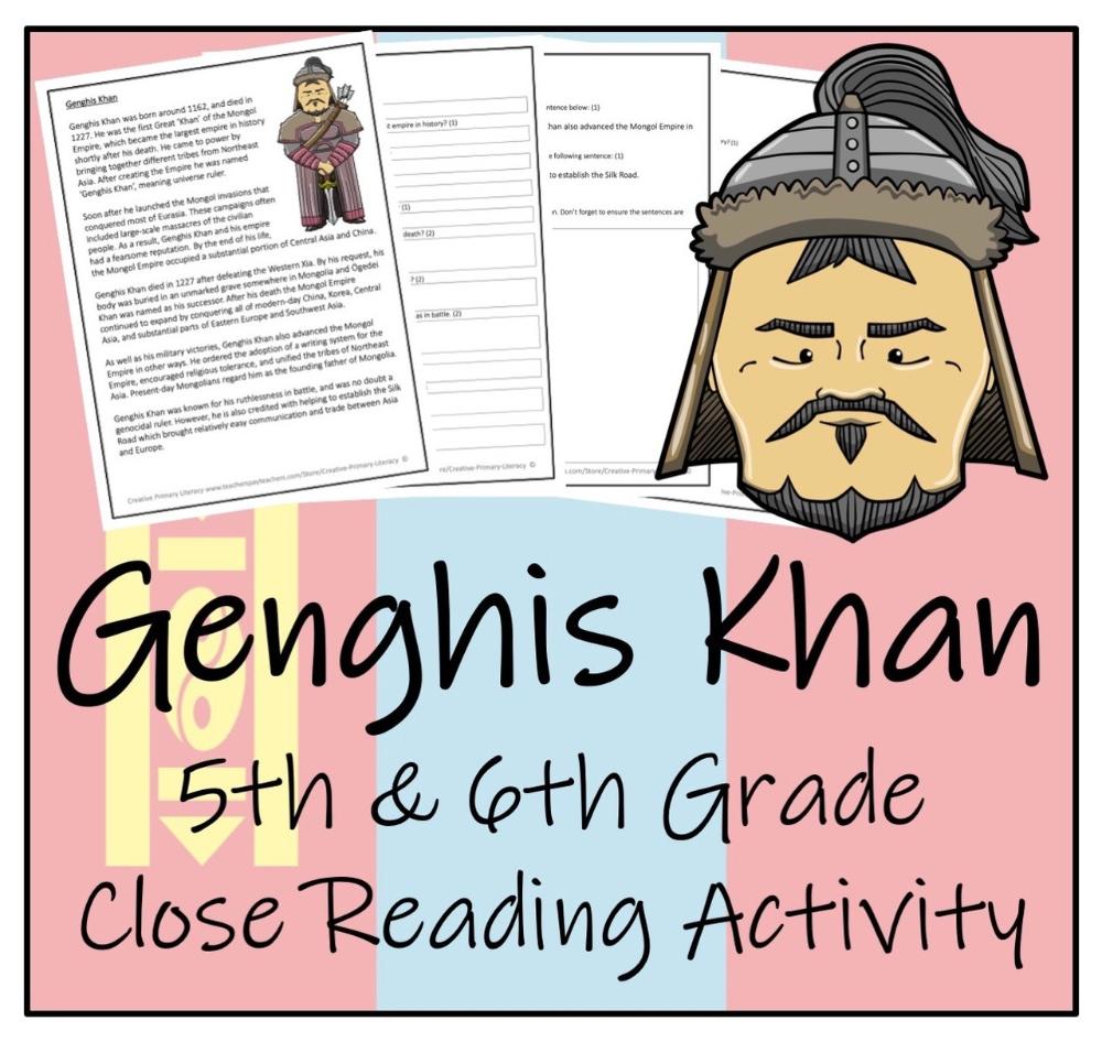 Genghis Khan 5th 6th Grade Close Reading Activity Close Reading Activities Reading Activities Close Reading [ 946 x 1000 Pixel ]