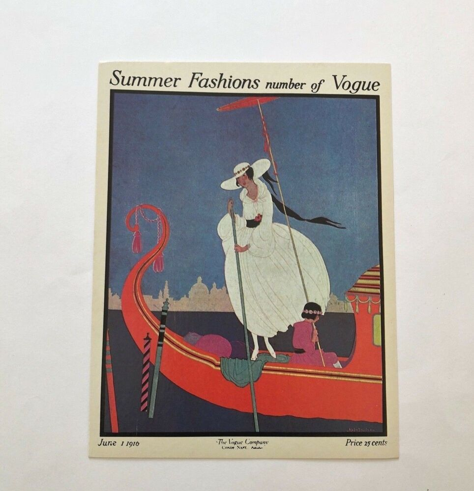 Vintage vogue magazine litho card summer fashions number