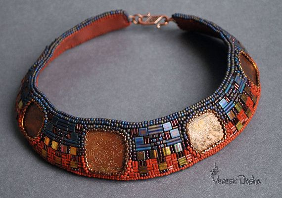 Bead Embroidery Necklace Terracotta and Indigo Collar
