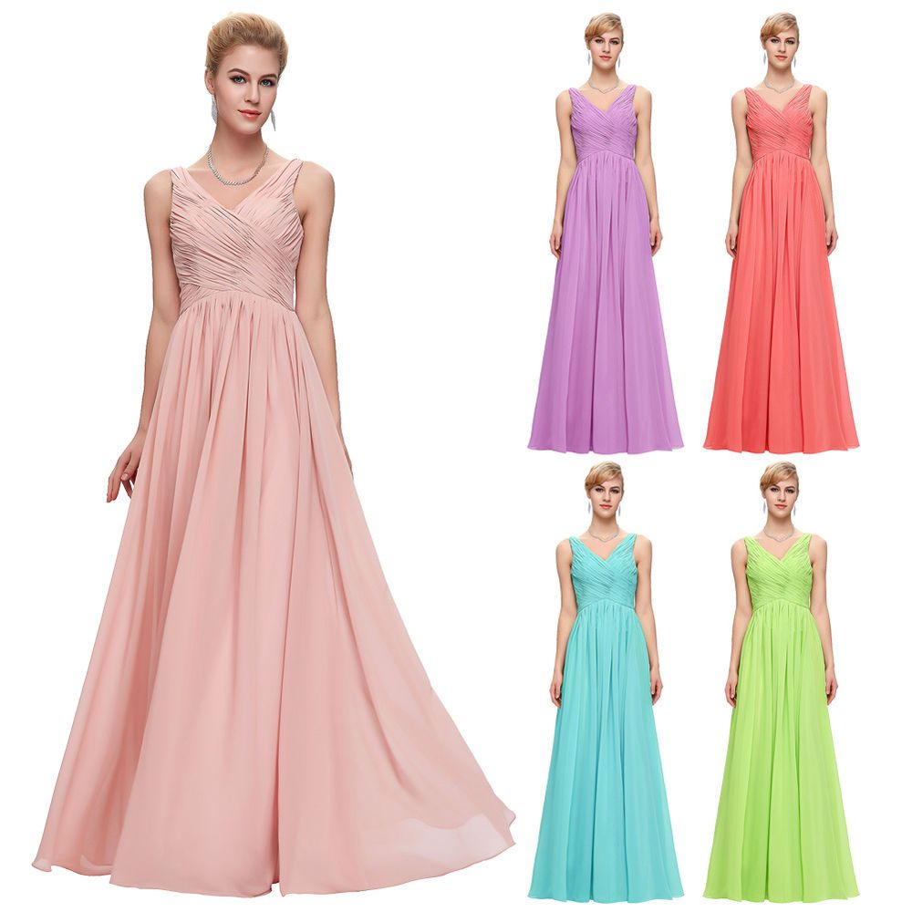 MAXI Chiffon Long Bridesmaid Formal Ball Gown Evening Prom Party ...