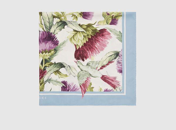 thistles and birds print silk scarf