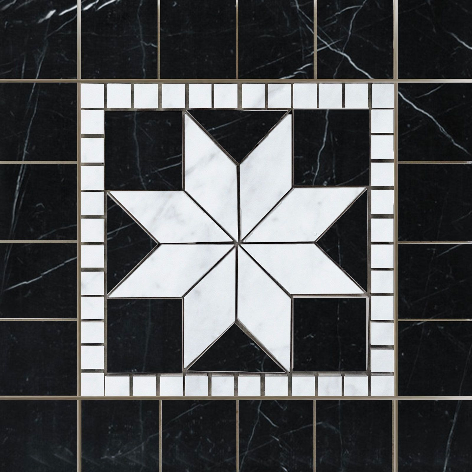 Medallion Mosaic Carrara And Black Marble 12 X 12 Marble Tile Backsplash Mosaic Tiles Marble Polishing