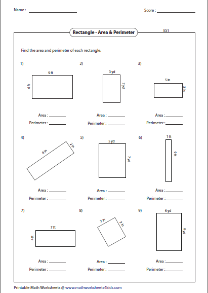 Area And Perimeter Of Rectangle Mixed Perimeter Worksheets Area And Perimeter Area And Perimeter Worksheets