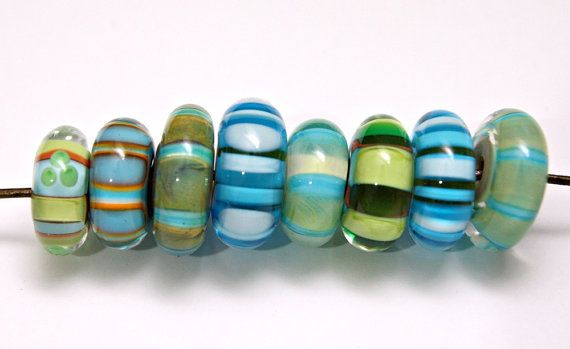Set of Artisan Lampwork Beads in Disk Shapes with by blancheandguy