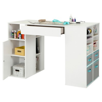 Crea Counter Height Craft Table With Storage Pure White South S