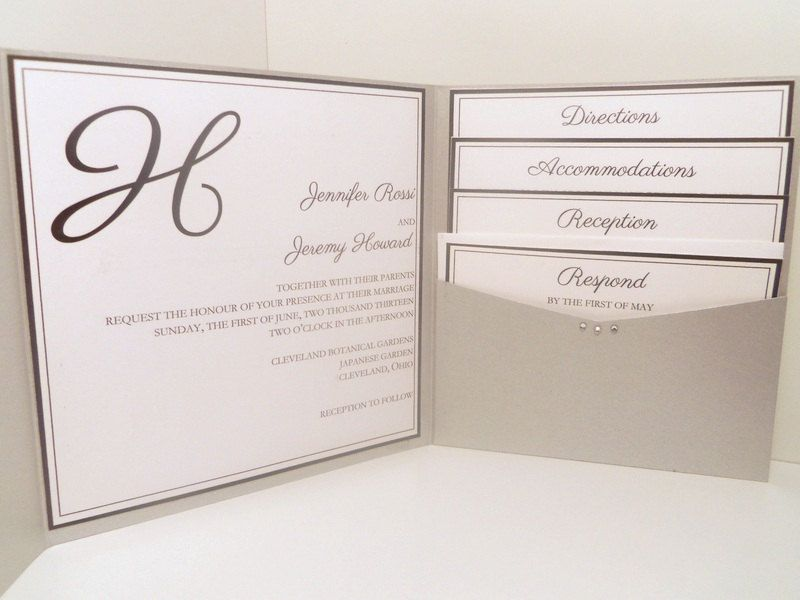 Modern monogram pocketfold wedding invitation with rhinestones i do love the folder idea the tabs on the right are perfect maybe use the other formal invite to format this and use a regular card sized folder invite stopboris Choice Image