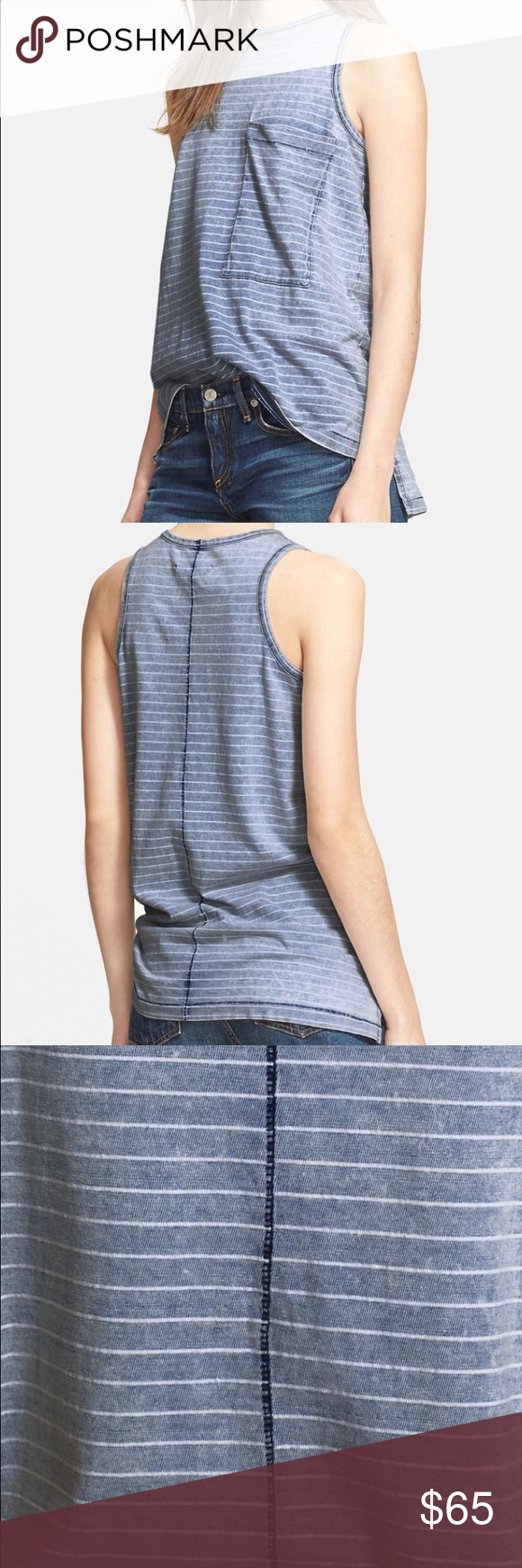 Rag u Bone Bowery Indigo Blue Stripe Top Tank S  rag u bone