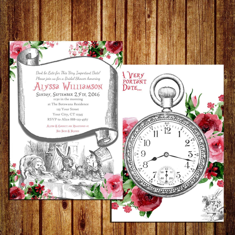 Alice in Wonderland themed Invitation for Bridal Shower - Alice in ...